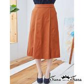 【Tiara Tiara】百貨同步aw 素色簡約風格褲裙(藍綠/褐)