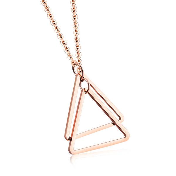 【5折超值價】時尚精美簡約三角形女款鈦鋼項鍊
