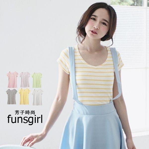 條紋T恤-台灣製繽紛糖果色圓領彈棉質上衣-6色~funsgirl芳子時尚