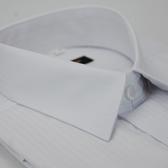 【金‧安德森】白色寬直條紋類絲質窄版短袖襯衫