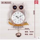 小鄧子歐式客廳創意掛鐘田園時尚金屬鐘錶現代鐵藝靜音石英鐘(主圖款貓頭鷹銀鑽16英寸)