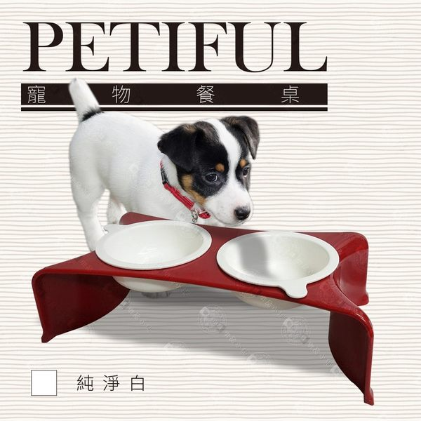 送零食) Petiful 寵物雙碗餐桌 貓狗兔飼料喝水碗架 可放零食點心餅乾 時尚黑