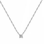 925純銀項鍊+鋯石吊墜-經典四爪鑲嵌極簡女飾品3款74aq25【巴黎精品】