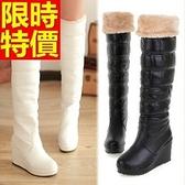 雪靴-過膝加絨加厚保暖高筒坡跟女長靴3色64aa41【巴黎精品】
