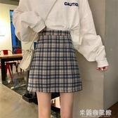 半身裙 春夏2020新款復古港味高腰bm格子短裙A字包臀半身裙女學生裙子秋 快速出貨