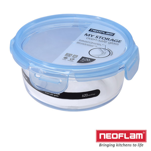 NEOFLAM-無膠條玻璃保鮮盒-圓型-620ml