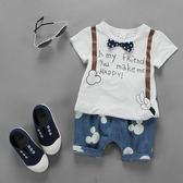 短袖套裝 夏款童蝴蝶結吊帶短袖套裝 S66013