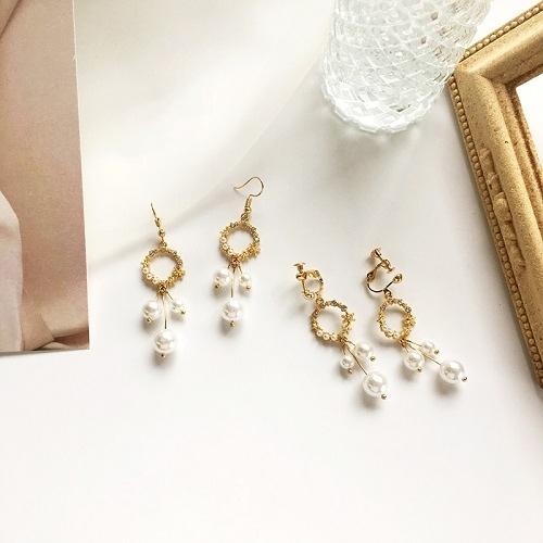 【NiNi Me】韓系耳環  夾式耳環 氣質甜美水鑽珍珠垂墬耳針 夾式耳環 E0178