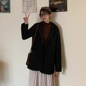 秋季氣質中長款西裝領 長袖毛呢外套女裝