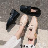 中跟單鞋2019秋季新款樂福鞋荷葉邊方頭粗跟女韓版百搭英倫小皮鞋 JY8334【pink中大尺碼】