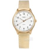 TIMEX 天美時 / TXTW2T72400 / 簡約風格 INDIGLO專利冷光照明 真皮手錶 白x玫瑰金框x米黃 32mm