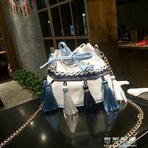小包包夏季女包鍊條流蘇水桶包時尚民族風迷你單肩斜跨包 可可鞋櫃