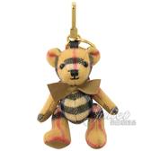 茱麗葉精品【全新現貨】 BURBERRY 8003330 Thomas格紋泰迪熊鑰匙圈吊飾.卡其灰