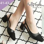 大尺碼女鞋-凱莉密碼-時尚異材質拼接方頭高跟前包涼鞋8cm(41-43)【BD816】黑色