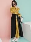 黃色格紋單落肩拼接綁帶長裙