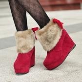 短筒雪靴-時尚厚底坡跟蝴蝶結女高跟靴子3色73kg1【巴黎精品】