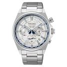 SEIKO精工 CS系列 140週年限量三眼計時腕錶 8T63-00S0S(SSB395P1)白X銀
