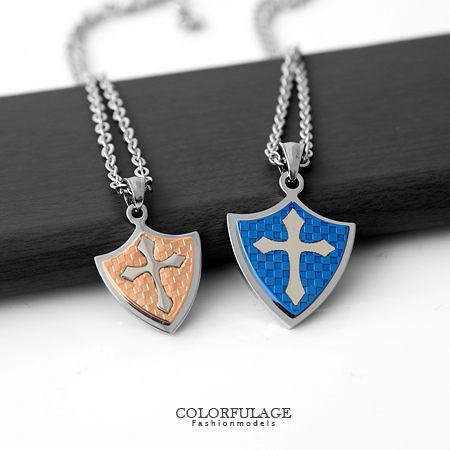 項鍊 經典不敗款格紋盾牌十字架鋼墜項鍊 西德鈦鋼專櫃材質 柒彩年代【NB560】贈鋼鍊
