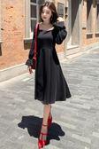 長袖洋裝秋冬新款復古方領修身顯瘦連身裙8205GD3F-326-B依佳衣