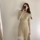 針織洋裝 韓國chic氣質輕熟風圓領單排扣修身收腰長袖百褶針織連衣裙長裙女 - 古梵希