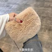 包包女2018冬新款潮韓版毛絨斜挎包少女小挎包鏈條包 米蘭潮鞋館