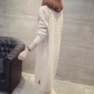 2019秋冬新款韓版女裝半高領寬松長袖打底衫中長款套頭過膝毛衣裙 夢藝家