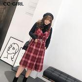 中大尺碼 V領格紋背心長裙(附腰帶) - 適XL~4L《 67310 》CC-GIRL