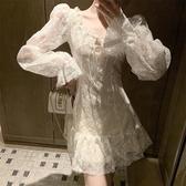 長袖洋裝 新款時尚女裝系帶V領氣質性感長袖鏤空蕾絲洋裝A字純色短裙子潮