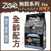 *KING WANG*加拿大Zoe《無穀系列-挑嘴犬全齡配方》雞肉+藜麥+豌豆 2kg