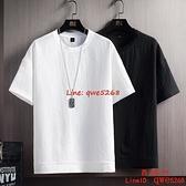 短袖T恤男士半袖體恤冰絲棉麻上衣服亞麻打底衫白色男裝【西語99】