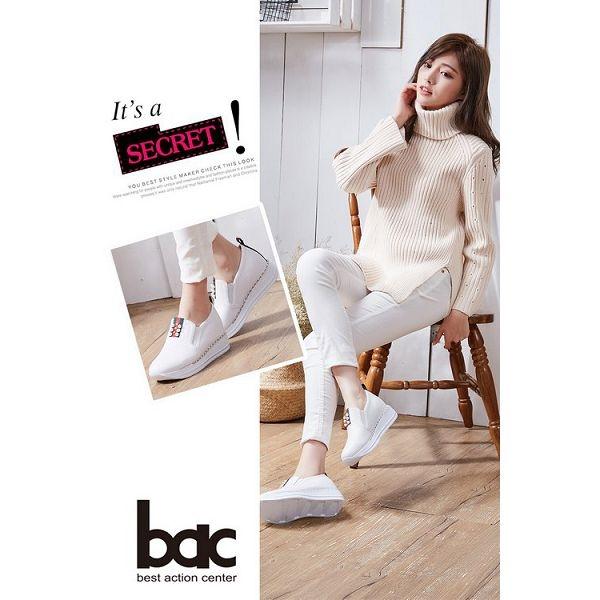 ★新品上市★【bac】時尚樂活 珍珠點綴隱內增高休閒鞋(白色)
