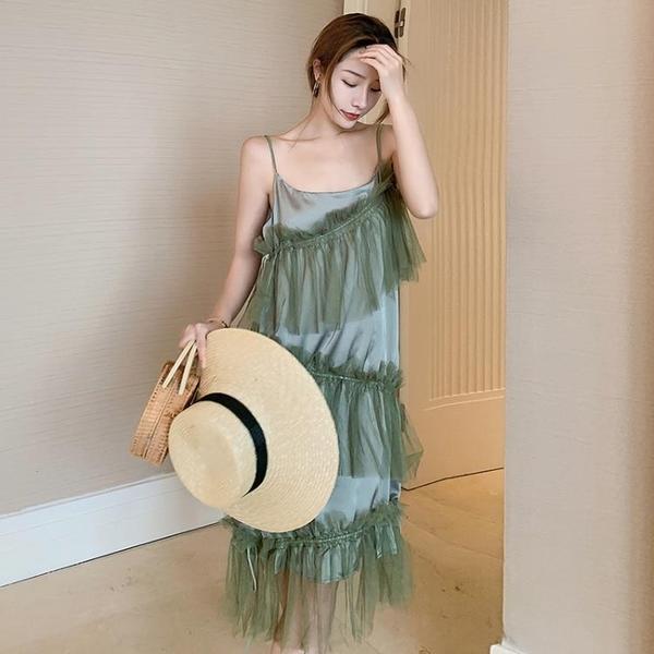 陽光沙灘裙 洋裝海邊度假網紗法式吊帶連身裙設計感小眾可甜可鹽裙子NE204紅粉佳人