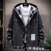 春裝新款男士牛仔夾克外套格子連帽韓版潮流假兩件個性男外套