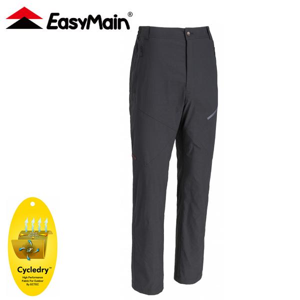 【EasyMain 衣力美 男 彈性快乾細格長褲(直筒板)《黑》】RE20045/休閒長褲/直筒褲