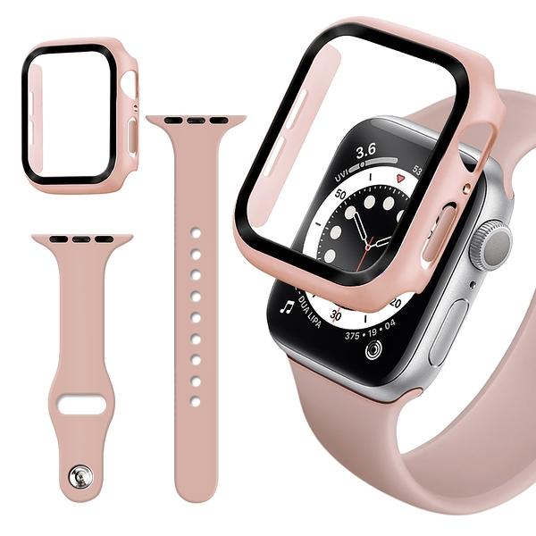 For Apple Watch Series SE/6/5/4 (44mm) 全包覆9H鋼化玻璃貼+錶殼+矽膠錶帶