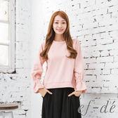【ef-de】激安 公主袖純棉單色縮口長袖上衣(灰/白/粉)