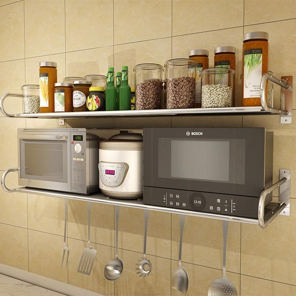 304不銹鋼廚房微波爐置物架 壁掛式調料架子烤箱收納用品支架掛架 降價兩天