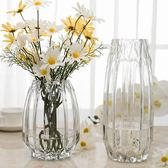 簡約幾何豎棱玻璃花瓶透明水培花器現代