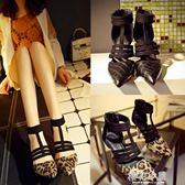歐美2017季新品豹紋T型帶尖頭拼色性感細高跟女鞋涼鞋靴幫涼鞋『櫻花小屋』