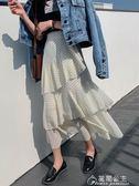 雪紡裙-半身裙女春新款韓版高腰蛋糕裙荷葉邊雪紡仙女長裙子 花間公主
