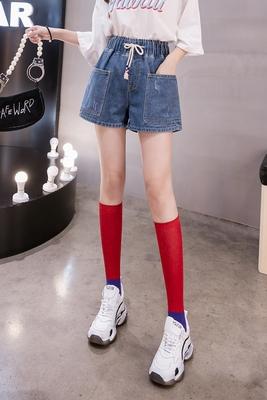 高腰女學生牛仔短褲女寬松熱褲大碼女裝200斤春新款5837 1F039-B 韓依紡