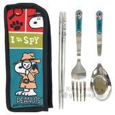 〔小禮堂〕史努比 三件式不鏽鋼餐具組《紅.湖水藍.偵探.放大鏡》附收納袋 4712977-46275