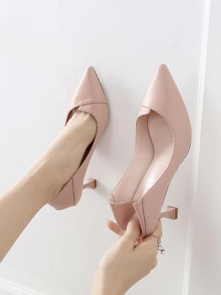 高跟鞋 高跟鞋少女細跟好康新品春季正韓百搭尖頭秋季小清新貓跟5cm單鞋