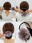 丸子頭水晶花朵盤髮器韓國頭飾百變蓬鬆懶人花苞頭造型器髮帶髮飾
