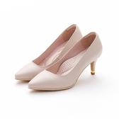 MICHELLE PARK 百搭素面尖頭金屬羊皮鑲嵌細高跟鞋-米