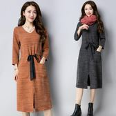 秋冬新款大尺碼女裝中長款寬鬆針織過膝洋裝連衣裙修身長袖打底裙子