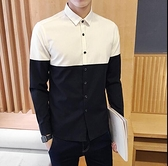 長袖襯衫-秋季新款男士時尚牛津紡長袖襯衫韓版修身型拼接撞色青年帥氣衣服 現貨快出