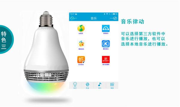 【世明國際】智能藍牙燈泡音箱 LED音樂球泡燈 藍牙音響燈 手機app遙控 LED燈泡藍芽喇叭 E27