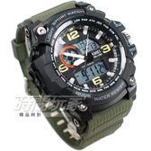 SKMEI時刻美 大錶面 潮男時尚腕錶 男錶 雙顯示 防水手錶 電子錶 運動錶 夜光 軍綠色 SK1283綠