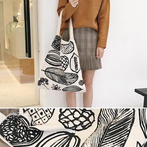 帆布袋 塗鴉 收納 手提 側肩包 環保購物袋--手提/單肩